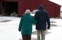 My mom & brother headed to his big red barn to check on the chickens & goats.