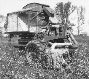 one row cotton picker John Deere