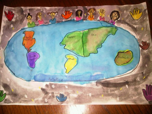 Neice's painting of people sharing cultures & information