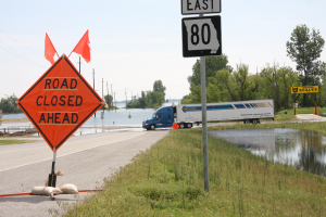 road closed in Matthews, Missouri due to flooding