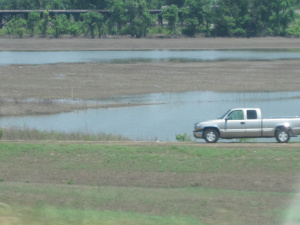Water receeding near West Memphis, AR