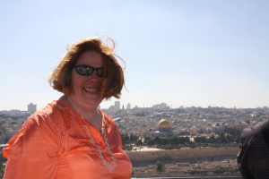 portrait at overlook of Jerusalem