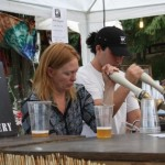 serving beer at a music festival