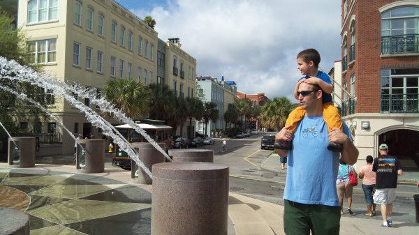 checking out the fountain on the Charleston water front