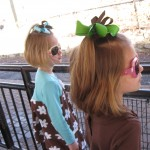 Miss A & Miss K waiting on the zoo train