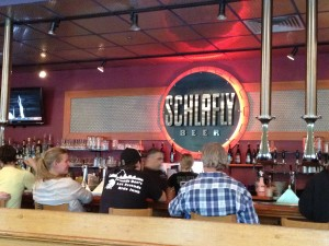 the bar at Schlafly brewery