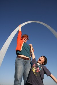hanging from the Arch in St Louis