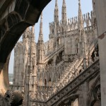 rooftop view of Milan, Italy's cathedral
