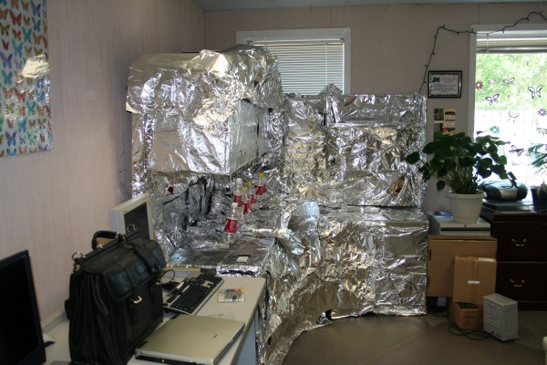 office prank -- foiling a desk
