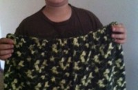 Teigen and the cotton shorts he made for this year's 4-H project