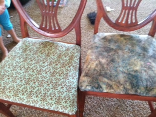 My chairs that I recovered in different cotton fabrics since I couldn't pick just one. 6 chairs all different fabric.