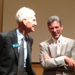 Dr. William Danforth (left) visits with moderator Mark Gunther