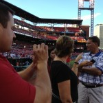 soaking in the field at Busch Stadium