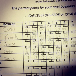 Bowling & I got FIVE STRIKES IN A ROW -- keeping score old school
