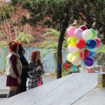 the balloons were for the photographer... not the skateboarders LOL