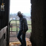 Cowboy silhouette in the barn