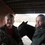 Kyle & his cousin in the barn