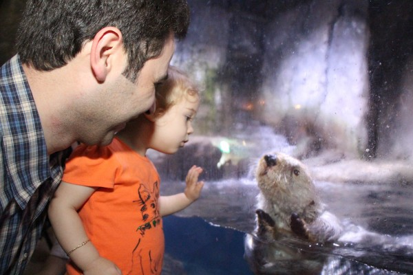 Original photo of otter & child