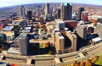 St Louis skyline panorama from the Arch