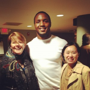 St Louis Rams defensive end Robert Quinn flanked by me Janice Person and a friend