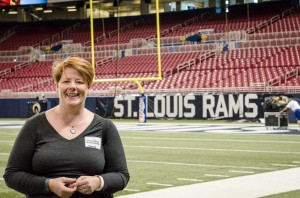 Janice Person on the field at the Rams game