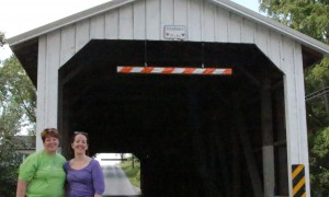 sis & I on a covered bridge in Lancaster County, PA
