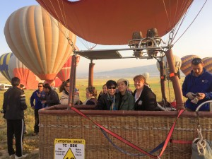 in a hot air balloon!
