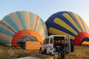 filling the hot air balloon