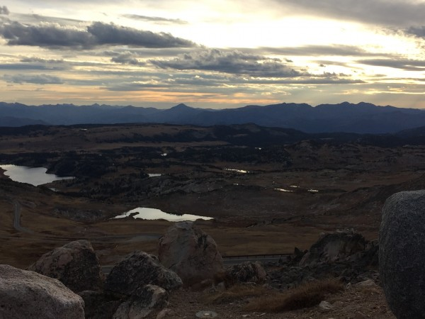 looking west from Beartooth pass at sunset