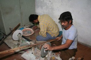 artisans doing inlay