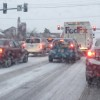 traffic in a major snowstorm