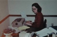 Mom at work in the 80s maybe
